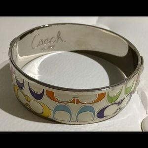 COACH Silver & Multi Logo Bangle Bracelet